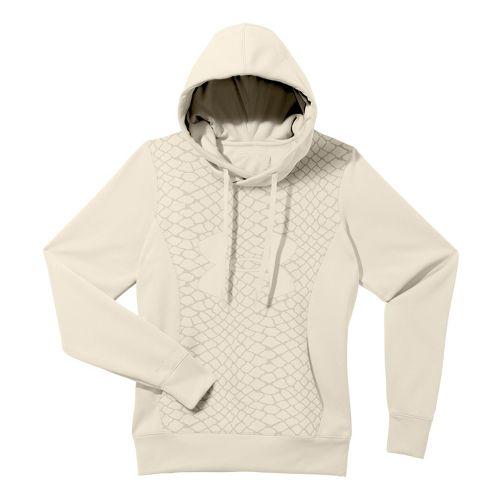 Womens Under Armour Fleece Storm Eclipse Big Logo Warm-Up Hooded Jackets - Tusk/Tusk M