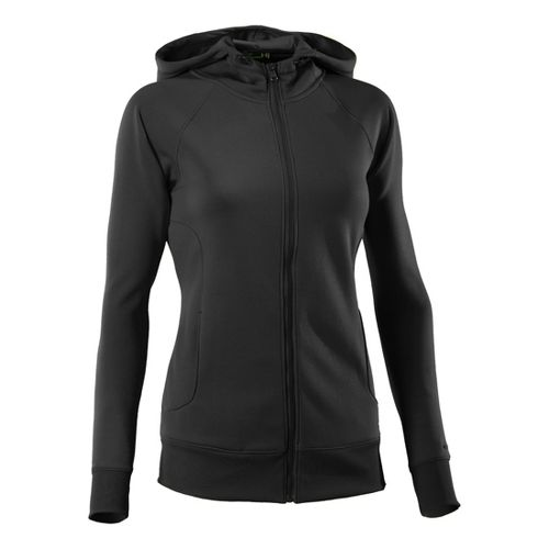 Womens Under Armour Fleece Storm Full Zip Warm-Up Hooded Jackets - Black/Black M