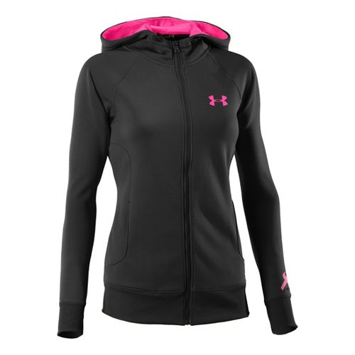 Womens Under Armour Fleece Storm Full Zip Warm-Up Hooded Jackets - Black/Cerise M