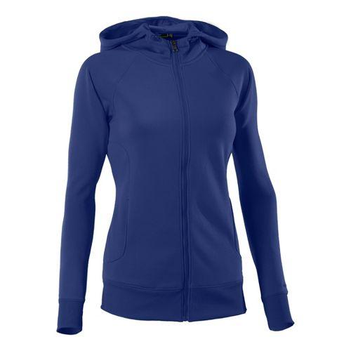 Womens Under Armour Fleece Storm Full Zip Warm-Up Hooded Jackets - Blu-Away/Blu-Away M