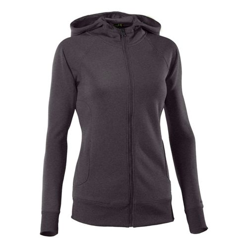 Womens Under Armour Fleece Storm Full Zip Warm-Up Hooded Jackets - Carbon Heather/Graphite XL