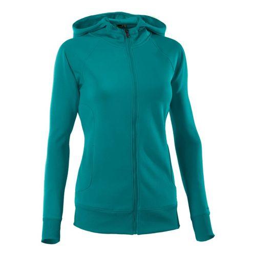Womens Under Armour Fleece Storm Full Zip Warm-Up Hooded Jackets - Cerulean/Cerulean L