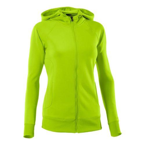 Womens Under Armour Fleece Storm Full Zip Warm-Up Hooded Jackets - Hyper Green/Hyper Green XS ...