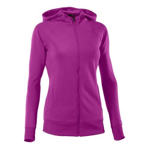 Womens Under Armour Fleece Storm Full Zip Warm-Up Hooded Jackets - Strobe/Strobe L