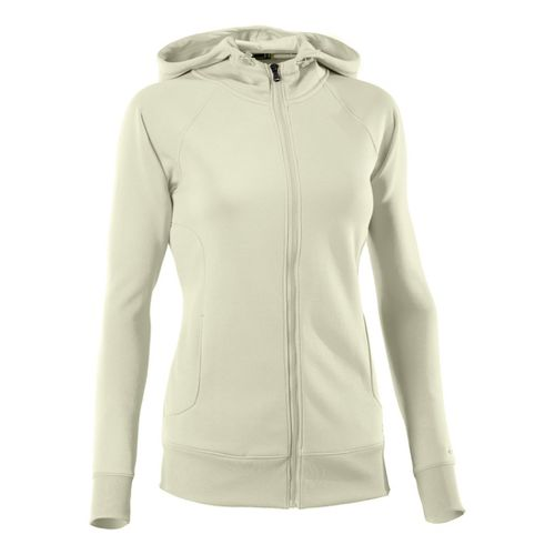 Womens Under Armour Fleece Storm Full Zip Warm-Up Hooded Jackets - Tusk/Tusk XS