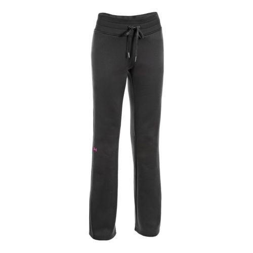 Womens Under Armour Fleece Storm Full Length Pants - Black/Cerise L