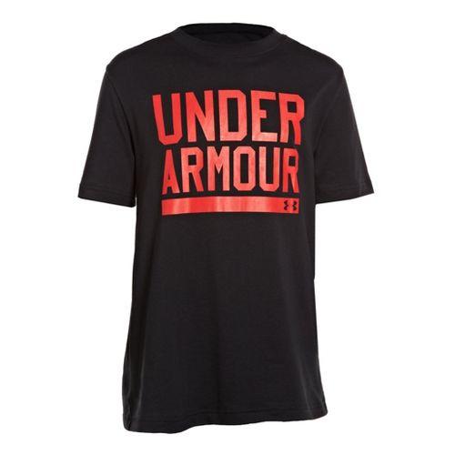 Kids Under Armour Boys Script Short Sleeve Non-Technical Tops - Black/Red S