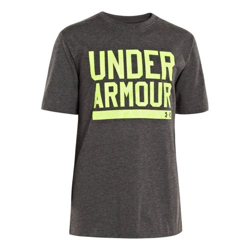 Kids Under Armour Boys Script Short Sleeve Non-Technical Tops - Carbon Heather/High Vis Yellow ...
