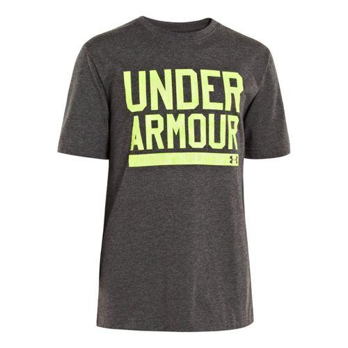 Kids Under Armour Boys Script Short Sleeve Non-Technical Tops - Carbon Heather/High Vis Yellow ...