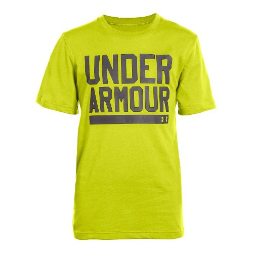 Kids Under Armour Boys Script Short Sleeve Non-Technical Tops - Flash Light/Charcoal L