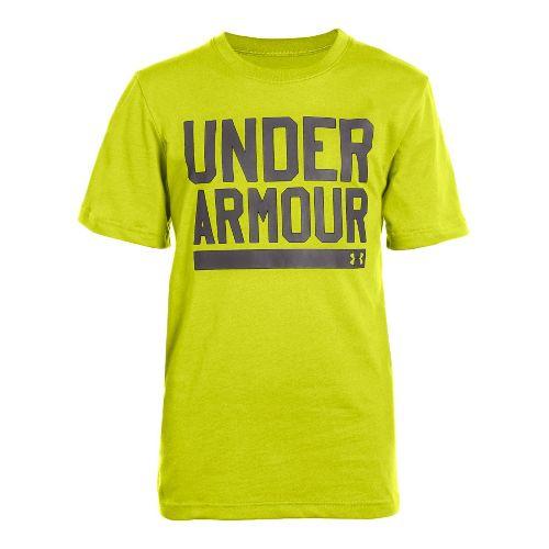 Kids Under Armour Boys Script Short Sleeve Non-Technical Tops - Flash Light/Charcoal M
