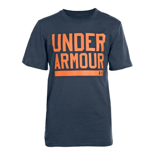 Kids Under Armour Boys Script Short Sleeve Non-Technical Tops - Mechanic Blue/Dark Orange S