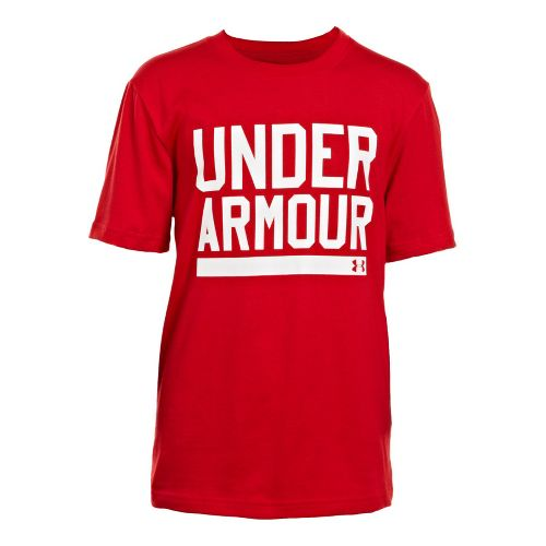 Kids Under Armour Boys Script Short Sleeve Non-Technical Tops - Red/White L