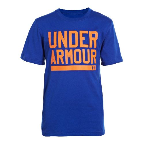 Kids Under Armour Boys Script Short Sleeve Non-Technical Tops - Royal/Blaze Orange XL