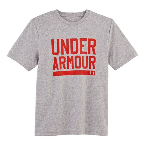 Kids Under Armour Boys Script Short Sleeve Non-Technical Tops - True Grey Heather/Orange S