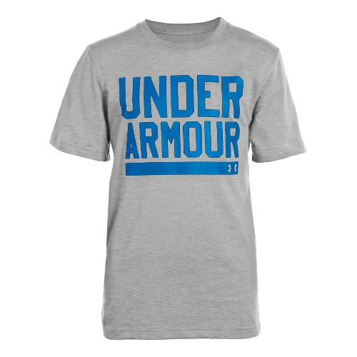 Kids Under Armour Boys Script Short Sleeve Non-Technical Tops - True Grey Heather/Snorkel M