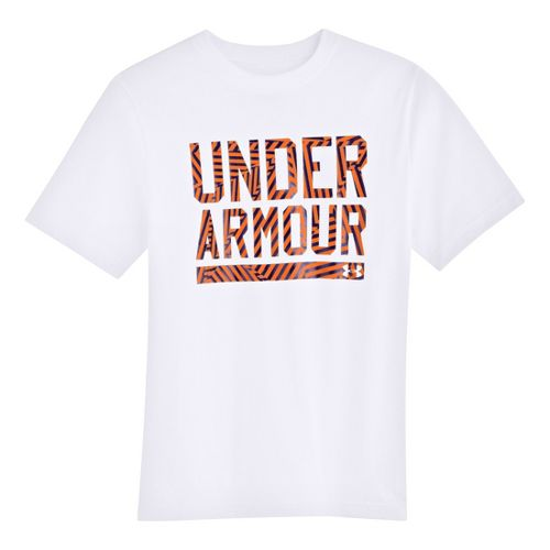 Kids Under Armour Boys Script Short Sleeve Non-Technical Tops - White/Blaze Orange XL