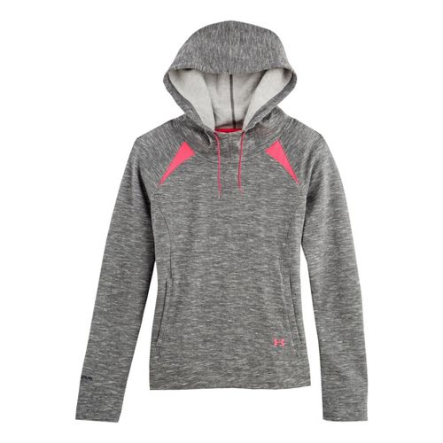Womens Under Armour Charged Cotton Storm Marble Hoody Warm-Up Hooded Jackets - Black/Pinkadelic L