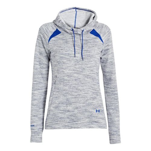 Womens Under Armour Charged Cotton Storm Marble Hoody Warm-Up Hooded Jackets - Blu-Away/Blu-Away L