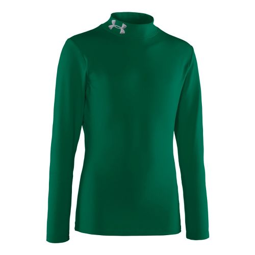 Kids Under Armour Boys Evo ColdGear Mock Long Sleeve No Zip Technical Tops - Forest ...