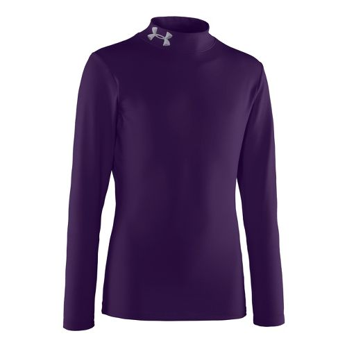 Kids Under Armour Boys Evo ColdGear Mock Long Sleeve No Zip Technical Tops - Purple/Aluminum ...