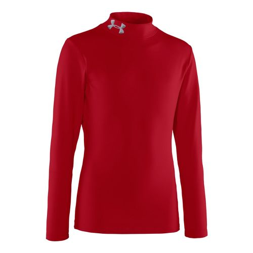 Kids Under Armour Boys Evo ColdGear Mock Long Sleeve No Zip Technical Tops - Red/Black ...
