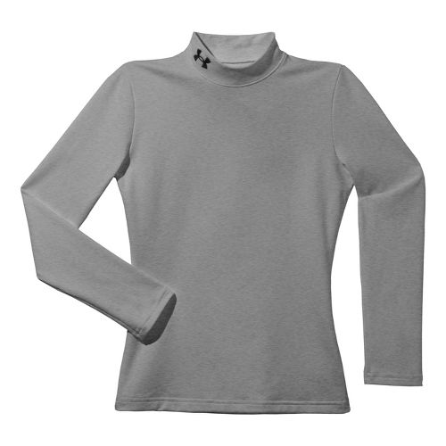 Kids Under Armour Boys Evo ColdGear Mock Long Sleeve No Zip Technical Tops - True ...