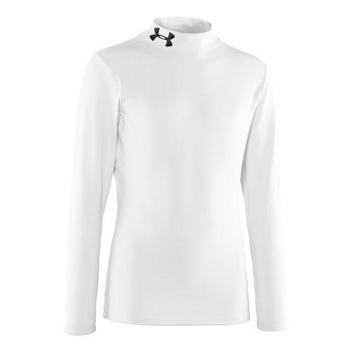 Kids Under Armour Boys Evo ColdGear Mock Long Sleeve No Zip Technical Tops - White/Black ...