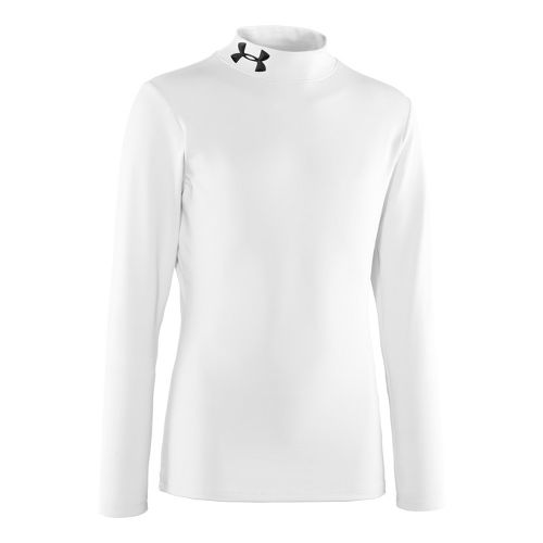 Kids Under Armour Boys Evo ColdGear Mock Long Sleeve No Zip Technical Tops - White/Black ...
