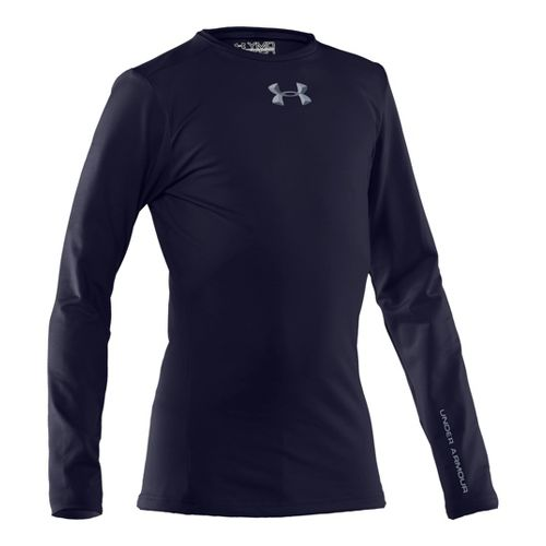 Kids Under Armour Boys Evo ColdGear Fitted Crew Long Sleeve No Zip Technical Tops - ...