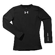 Kids Under Armour Boys Evo ColdGear Fitted Crew Long Sleeve No Zip Technical Tops