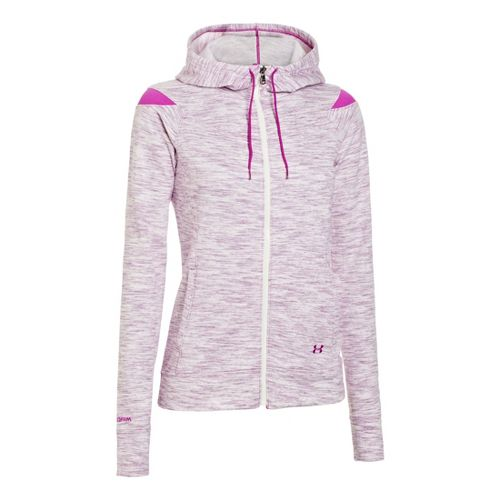 Womens Under Armour Charged Cotton Storm Marble Full Zip Warm-Up Hooded Jackets - Strobe/Strobe ...