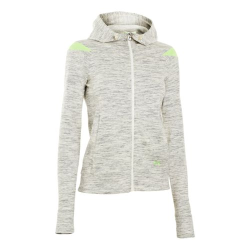 Womens Under Armour Charged Cotton Storm Marble Full Zip Warm-Up Hooded Jackets - Tusk/Hyper ...