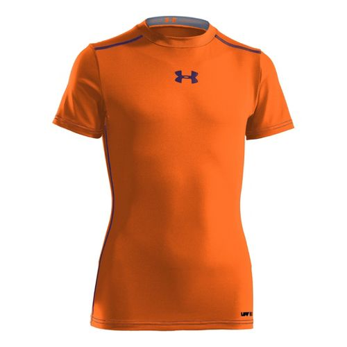 Kids Under Armour Boys HeatGear Sonic FItted Short Sleeve Technical Tops - Blaze/Orange M