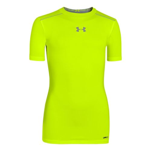 Kids Under Armour Boys HeatGear Sonic FItted Short Sleeve Technical Tops - High Vis ...