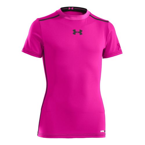 Kids Under Armour Boys HeatGear Sonic FItted Short Sleeve Technical Tops - Tropic Pink/Black S ...