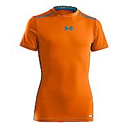 Kids Under Armour Boys HeatGear Sonic FItted Short Sleeve Technical Tops