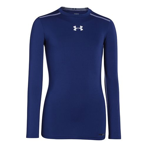 Kids Under Armour Boys HeatGear Sonic Fitted Long Sleeve No Zip Technical Tops - Caspian/White ...