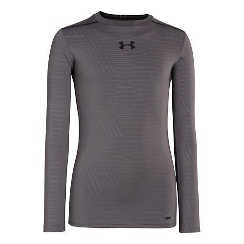 Kids Under Armour Boys HeatGear Sonic Fitted Long Sleeve No Zip Technical Tops - Graphite/Black ...