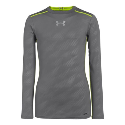 Kids Under Armour Boys HeatGear Sonic Fitted Long Sleeve No Zip Technical Tops - ...