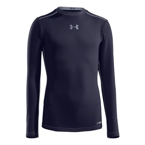 Kids Under Armour Boys HeatGear Sonic Fitted Long Sleeve No Zip Technical Tops - Midnight ...