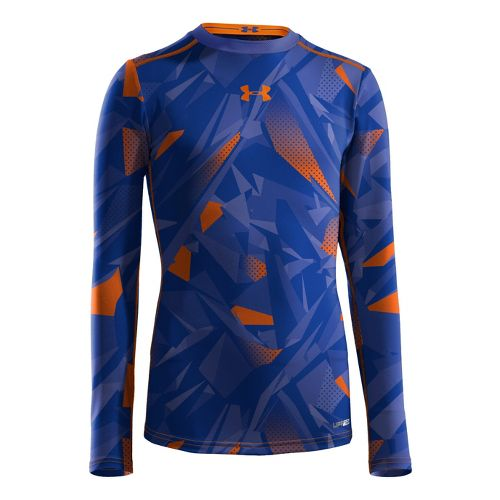 Kids Under Armour Boys HeatGear Sonic Fitted Long Sleeve No Zip Technical Tops - Royal/Blaze ...