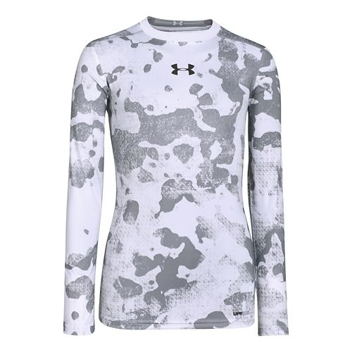 Kids Under Armour Boys HeatGear Sonic Fitted Long Sleeve No Zip Technical Tops - Steel/White ...