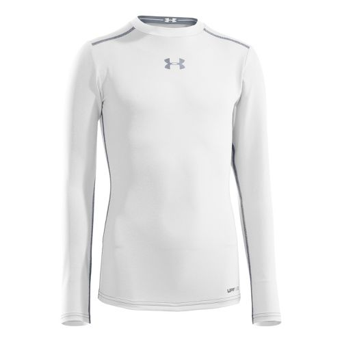 Kids Under Armour Boys HeatGear Sonic Fitted Long Sleeve No Zip Technical Tops - White/Steel ...