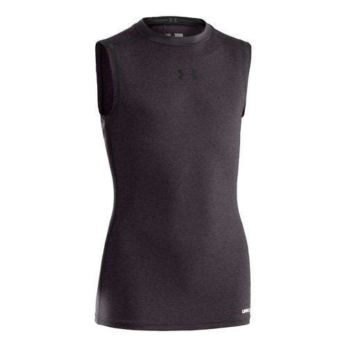 Kids Under Armour Boys HeatGear Sonic FItted Sleeveless Technical Tops - Carbon Heather/Black XS