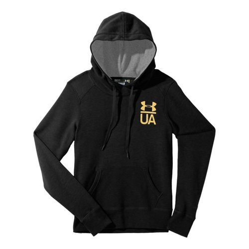 Womens Under Armour Charged Cotton Legacy Warm-Up Hooded Jackets - Black/True Grey Heather M