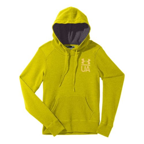 Womens Under Armour Charged Cotton Legacy Warm-Up Hooded Jackets - Lima Bean/Carbon Heather S