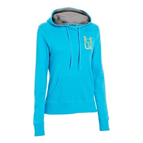Womens Under Armour Charged Cotton Legacy Warm-Up Hooded Jackets - Pirate Blue/Carbon Heather M