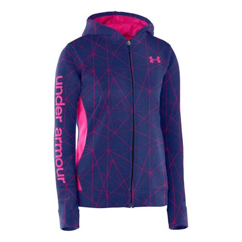 Kids Under Armour Girls Armour Fleece Storm Full Zip Hoody Running Jackets - Blu-Away/Blu-Away ...