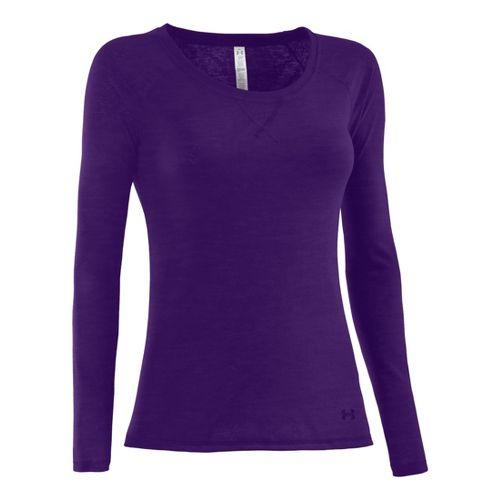 Womens Under Armour Ultimate Burnout Long Sleeve No Zip Technical Tops - Purple Rain L ...